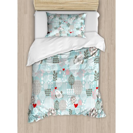 Floral Twin Size Duvet Cover Set, Valentines Day Themed Cute Little Birds Hearts and Numerous Abstract Flower Concepts, Decorative 2 Piece Bedding Set with 1 Pillow Sham, Multicolor, by Ambesonne