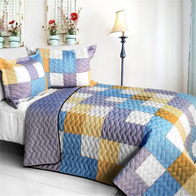 Romantic Macaron - 3 Pieces Vermicelli - Quilted Patchwork Quilt Set  Full & Queen Size - Purple - image 1 de 1