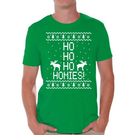 18b1997d Awkward Styles Ho Ho Ho Homies Christmas Tshirts for Men Ho Ho Ho Shirt  Ugly Christmas T-shirt Christmas Reindeer Holiday Top Funny Tacky Party  Holiday ...