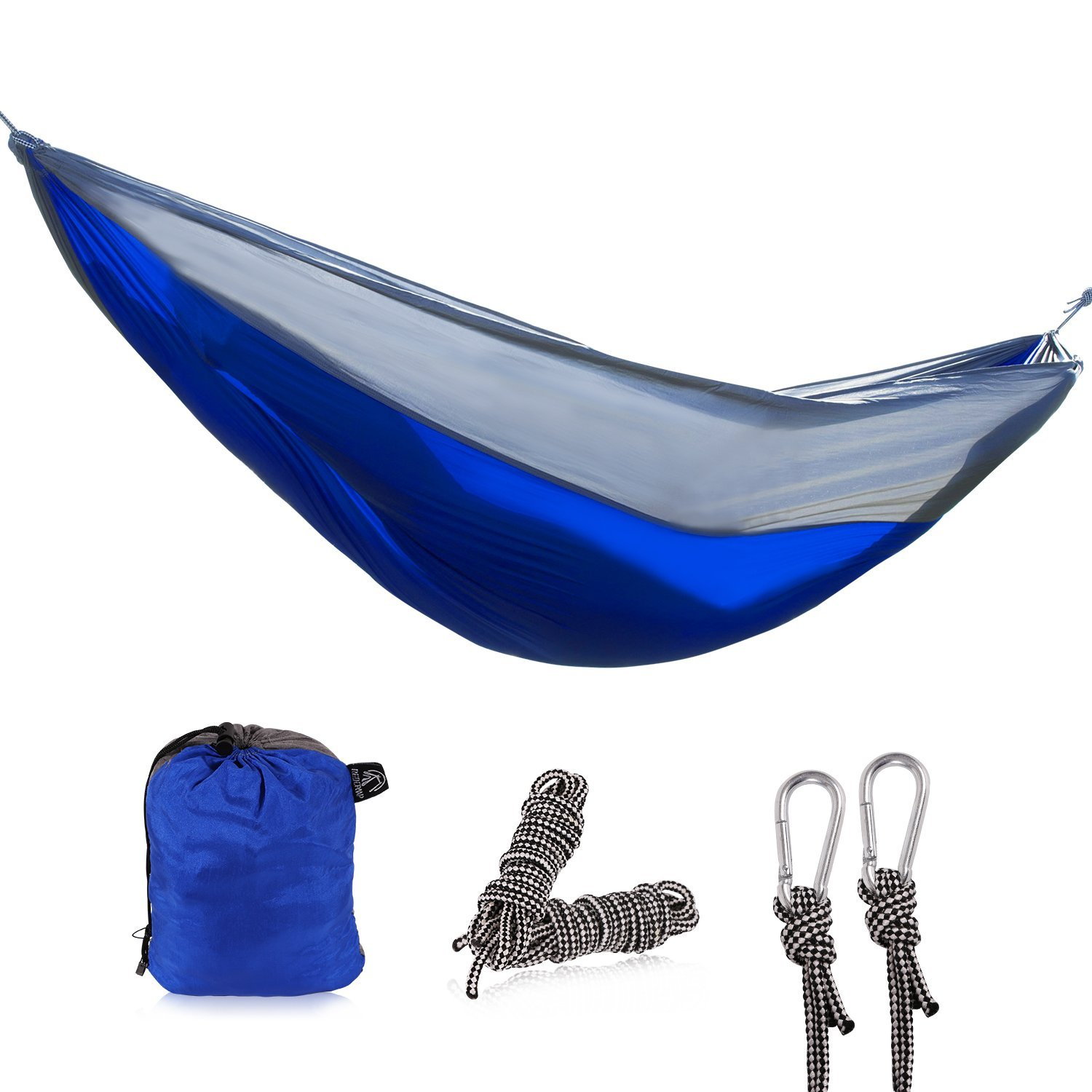 REDCAMP Camping Double Hammock, Portable Hammock with 2 Straps, Red Strpe