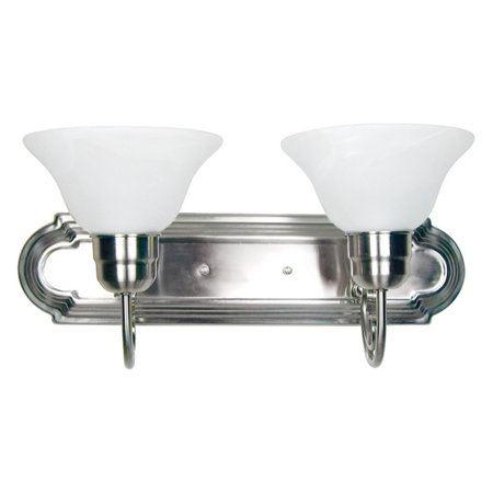Y Decor L4992-2SN Modern Transitional Traditional 2 Light Bathroom Vanity Fixture Satin Nickel with White Glass By  Satin (Two Light Nickel Vanity)