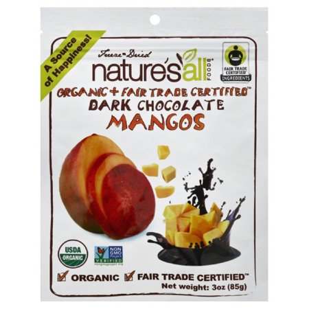 Natures All Foods Dark Chocolate Freeze Dried Organic Mangos  3 Oz  Pack Of 12