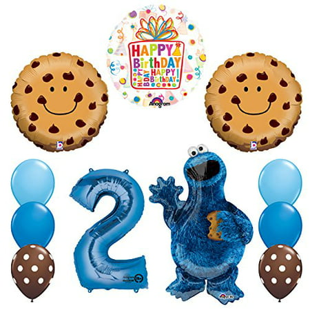 NEW! Sesame Street Cookie Monsters 2nd Birthday party supplies and Balloon Decorations