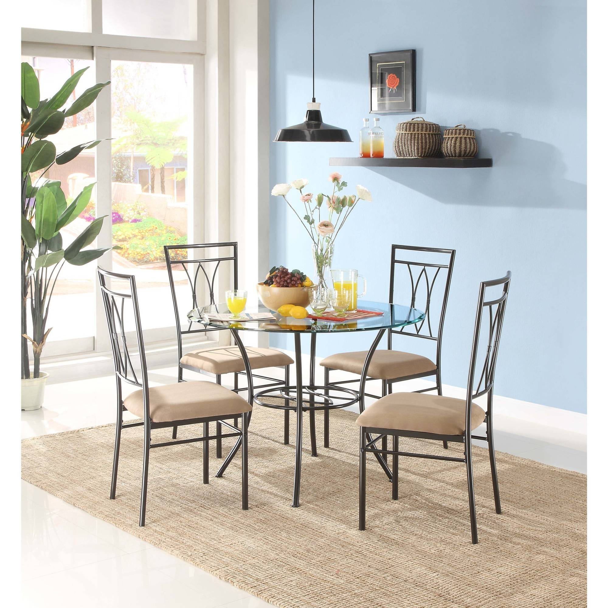Modern Glass Round Table and Chairs Dining Set Mainstays 5-Piece ...