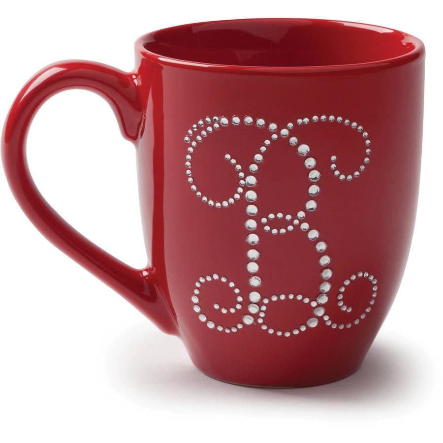 Rhinestone Initial Red Bistro Personalized Coffee Mug