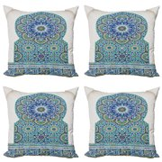 Moroccan Throw Pillow Cushion Case Pack of 4, Ceramic Tile Antique East Pattern Heritage Architecture Print, Modern Accent Double-Sided Print, 4 Sizes, Pale Coffee Turquoise, by Ambesonne