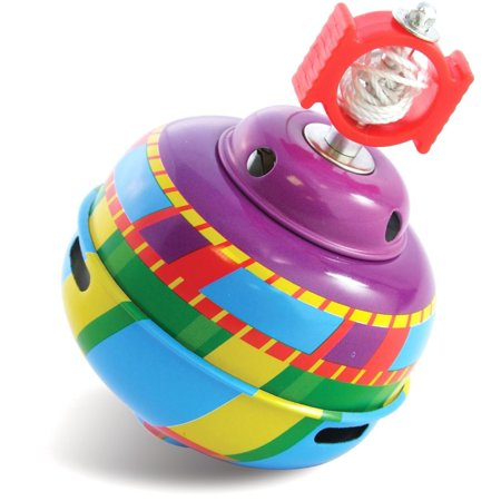 Whistling Tin Top Toy, Simply pull the string and this top spins, whistles and changes colors, delighting children everywhere By Schylling (Spin Top Toy)