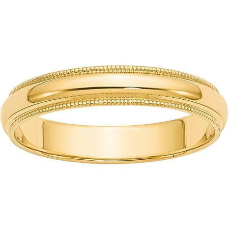 Gold Milgrain Designer Band (14k 4mm Milgrain Half-Round Wedding Band)