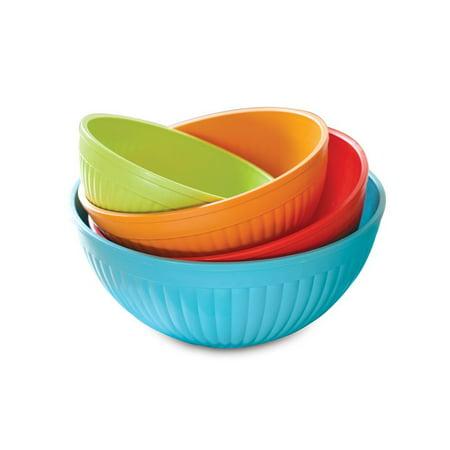 Nordic Ware 4 Piece Prep & Serve Bowl Set, BPA-free and Melamine Free Plastic, 5 Year Warranty,2qt., 3.5 qt., 5qt, 7qt. bowls