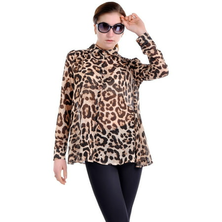 - S/M Fit Yellow Leopard Print Slight Puff Shoulder Opaque Button Blouse