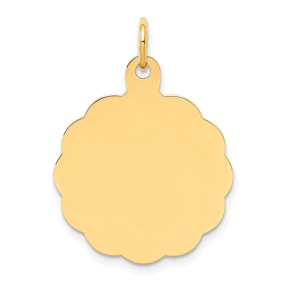 14k Yellow Gold 0.011 Gauge Engravable Scalloped Disc Charm (1in long x 0.7in wide)