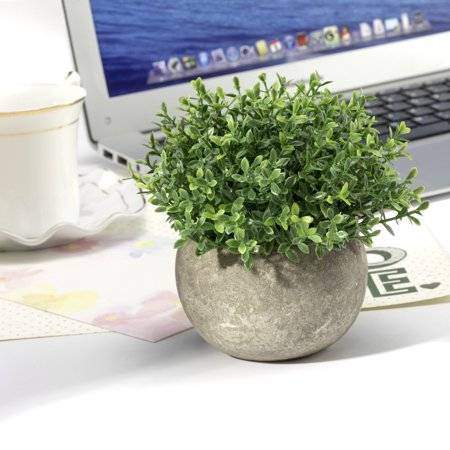 Mini 5-inch Lifelike Artificial Topiary Faux Green Clover Leaves in pot for Home Decor (Green)