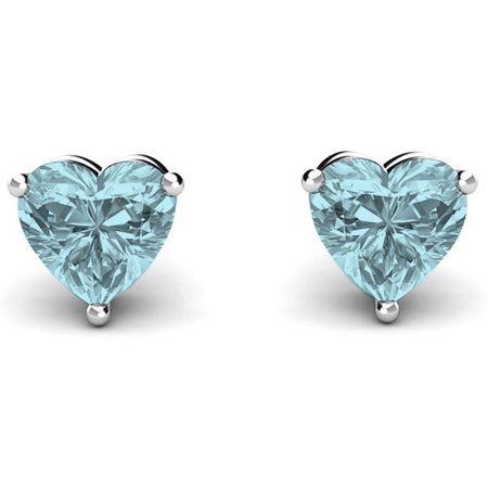 - Sterling Silver Heart Birthstone Earrings, Aquamarine