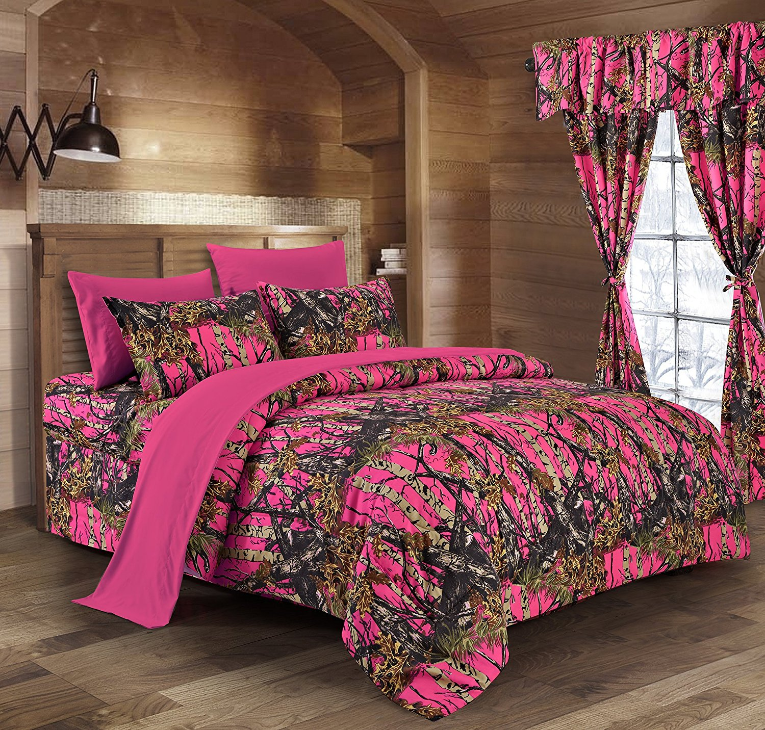Regal Comfort The Woods High Viz Pink Camouflage Queen 8pc Premium Luxury Comforter, Sheet, Pillowcases, and Bed Skirt Set by Camo Bedding Set For Hunters Cabin or Rustic Lodge Teens Boys and Girls