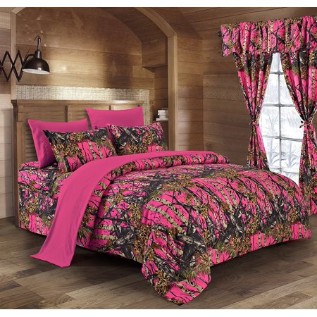 - Regal Comfort The Woods High Viz Pink Camouflage Queen 8pc Premium Luxury Comforter, Sheet, Pillowcases, and Bed Skirt Set by Camo Bedding Set For Hunters Cabin or Rustic Lodge Teens Boys and Girls