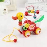 matoen Toddler Toys Duckling Trailer Round beads Wooden Toy Early Educational For Kids