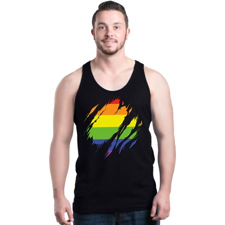 - Shop4Ever Men's Ripped Rainbow Flag LGBTQ Gay Pride Graphic Tank Top