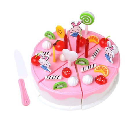 39pcs Cake Cutting Toys Pretend Play Food Assortment Toy Set Birthday Cake for Kids DIY Pink