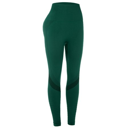 DODOING Womens Sport Compression Fitness Leggings Running Yoga Jogging Gym Pants Waist Pants Exercise Workout High Stretchy and High Waist Trousers, Black/ Green/ Grey
