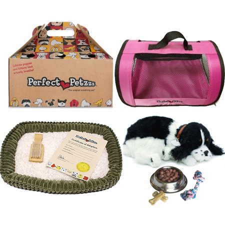 Cocker Spaniel Treat - Perfect Petzzz Huggable Breathing Puppy Dog Pet Bed Cocker Spaniel with Pink Tote For Plush Breathing Pets, Dog Food, Treats, and Chew Toy