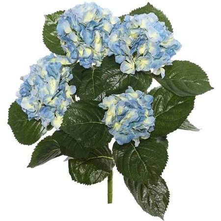 """Vickerman 17.5"""" Blue Polyester Hydrangea Bush with 30 Leaves and 204 Flowers"""
