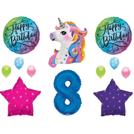Blue 8th Neon RAINBOW UNICORN Happy Birthday Party Balloons Decoration Girl