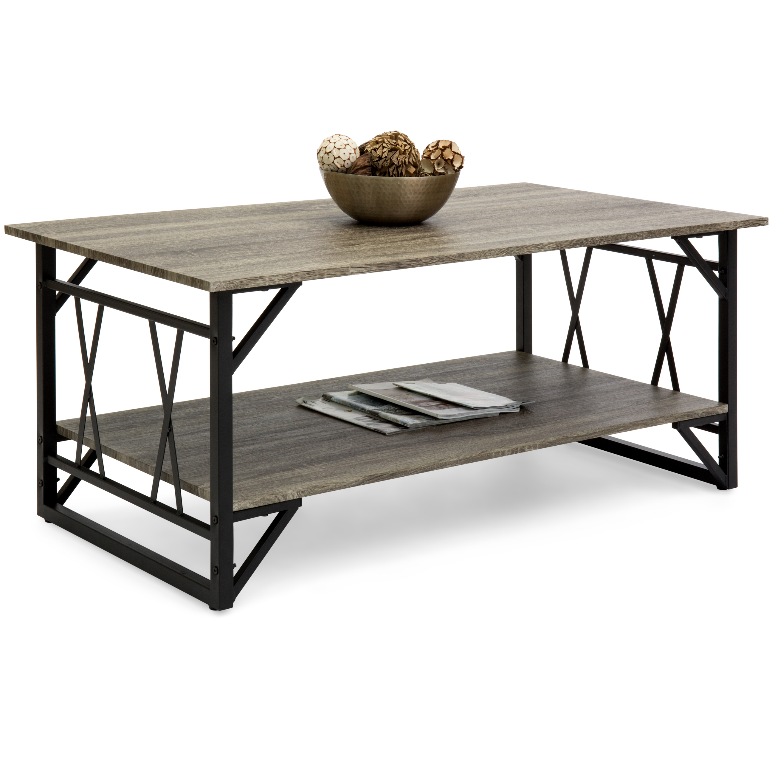Best Choice Products Modern Metal and Wooden Coffee Table by Best Choice Products