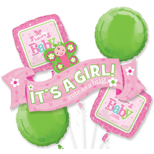 Baby Shower 'Welcome Little One Girl' Foil Mylar Balloon Bouquet (5pc)