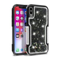 Mignova iPhone Xs Max case,3 in 1 Clear Liquid Glitter Case Moving Hearts Shockproof Soft TPU Bumper Shell PC Frames Slim Fit Protective,for Apple iPhone Xs Max 6.5 inch case 2019 Release(Black)