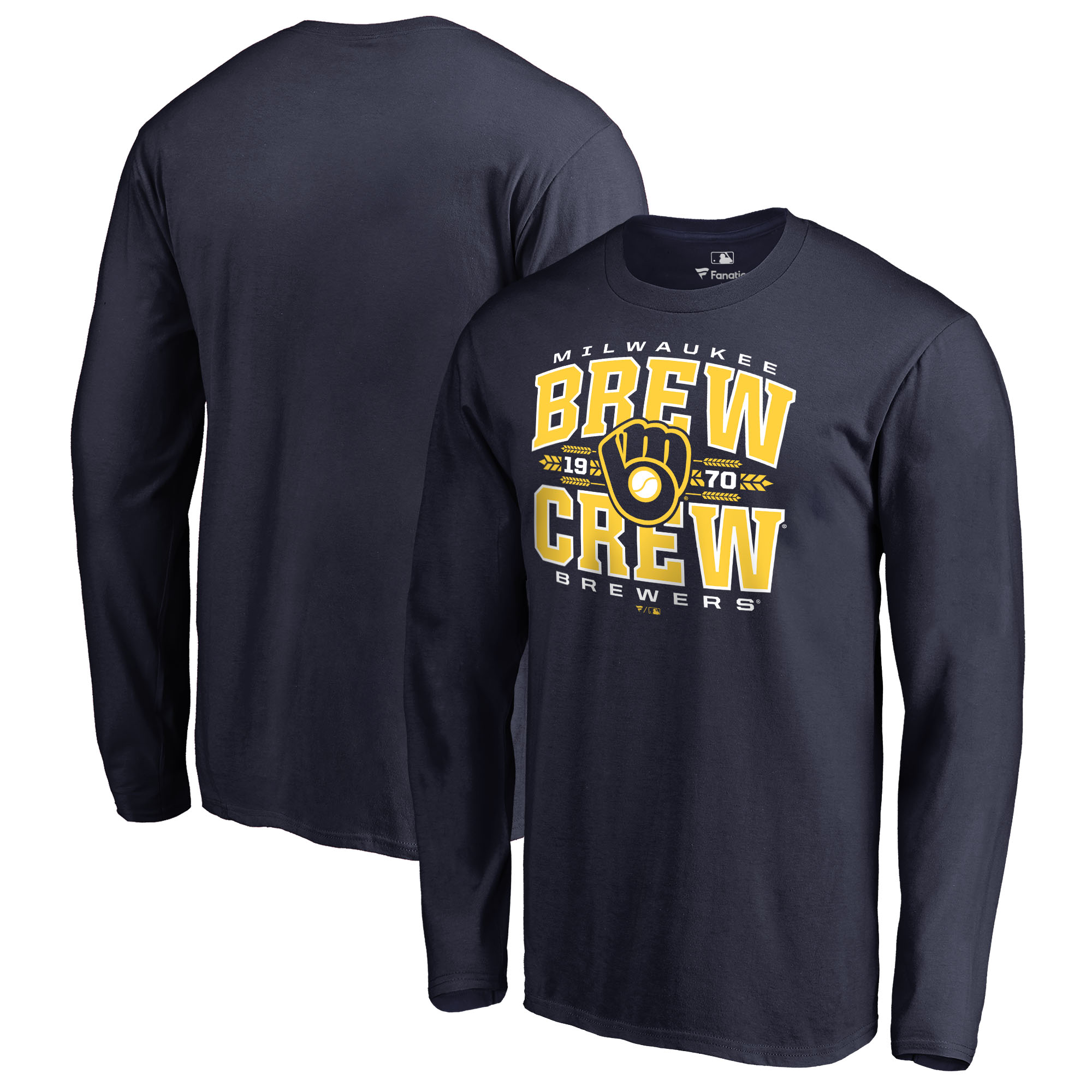 Milwaukee Brewers Fanatics Branded Hometown Collection Barley Long Sleeve T-Shirt - Navy