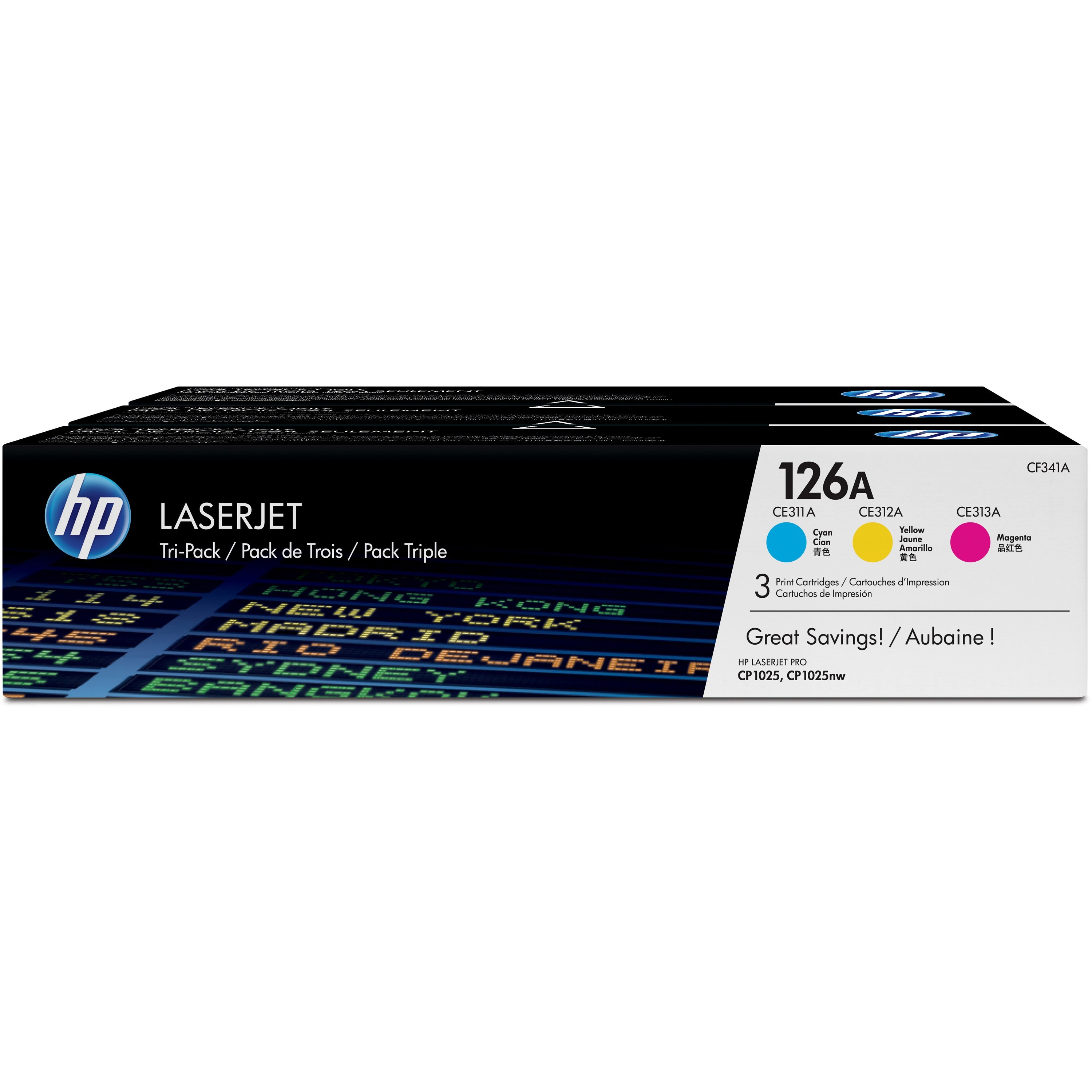HP 126A (CF341A) Cyan/Magenta/Yellow Original LJ Toner Cartridges, 3 pack
