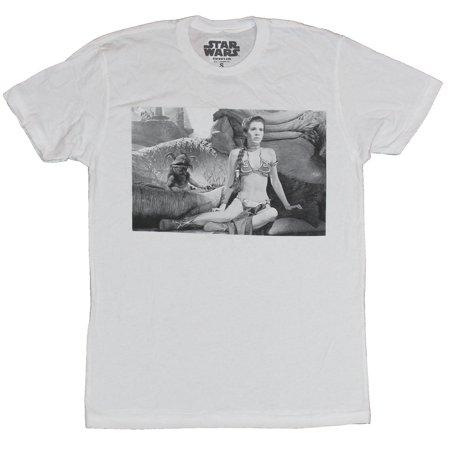 Star Wars Mens T-Shirt -  Slave Leia In Jabba's Palace Photo Box Image (Leia Slave)
