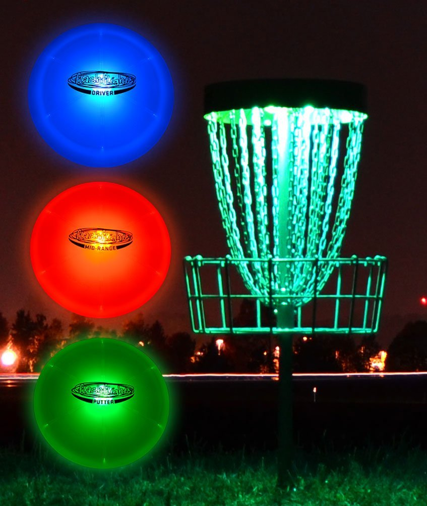 GlowCity Night Play Glow In The Dark LED Discs & Lights for Basket Golf Kit by GlowCity