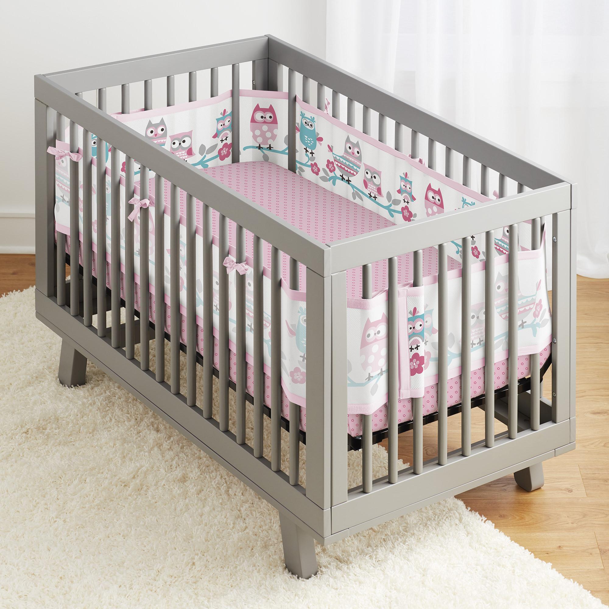 BreathableBaby® 3pc Classic Crib Bedding Set– Starlight White & Grey