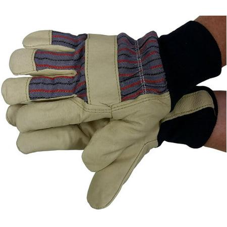 Pigskin Knit (Premium Pigskin w/ Thinsulate Lining & Knit Wrist Gloves (Sold by Dozen) Large)