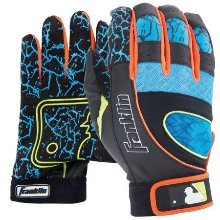 Franklin Adult Insanity Batting Gloves  Pair   Black Electric Blue Optic Orange  X Large