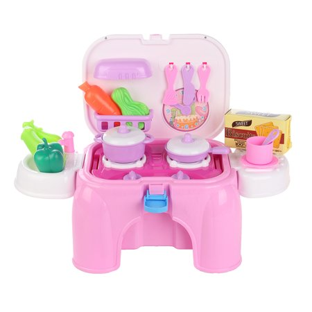 Play Food Dishes Set- Play Fruits - Play Dishes - Pots and Pans - Play Kitchen Cooking Playset Utensils - Mini Stove (lights & sounds) Best Gift For Toddlers Boy Girl - image 1 de 18