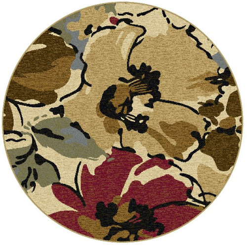 Tayse Laguna Area Rugs - 4570 Contemporary Beige Flowers Leaves Garden Rug