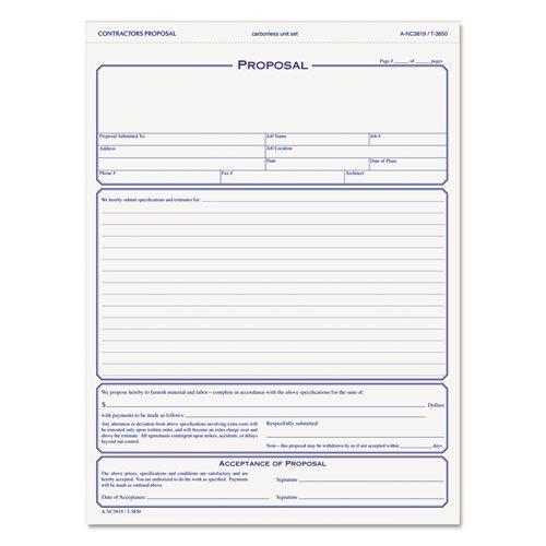 Contractor Proposal Form Part Carbonless   X   Forms