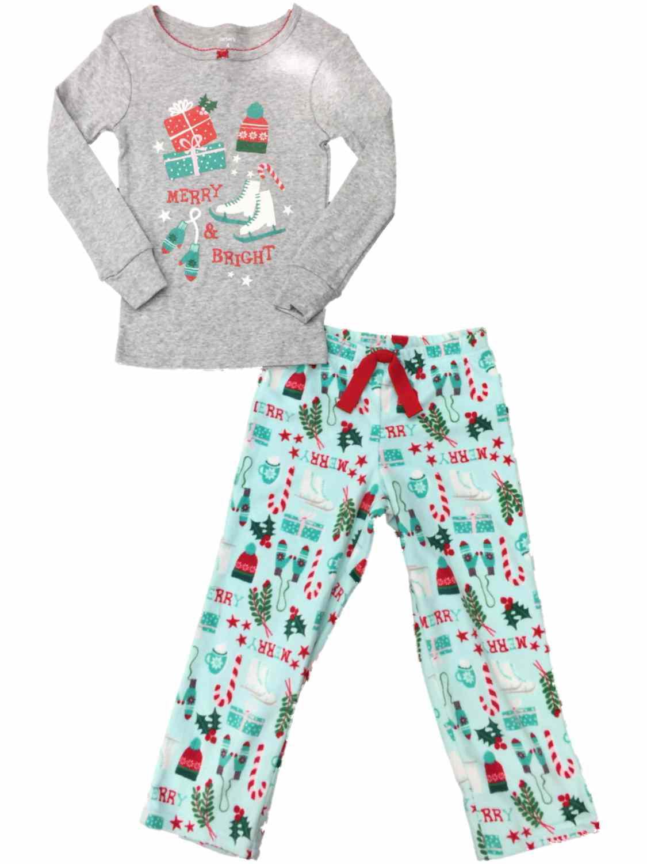Carters Girls Merry & Bright Pajamas Glittery Christmas Holiday 2 Pc Sleep Set