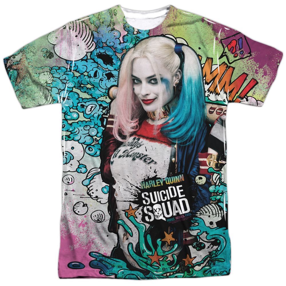 Suicide Squad Harley Psychedelic Cartoon (FB Print) Mens Sublimation Shirt