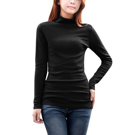 Women's Long Sleeve Turtle Neck Wrap Back Stretch Autumn Blouse Black (Autumn Brick)