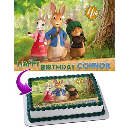 Peter Rabbit Edible Cake Topper Personalized Birthday 1 4 Sheet Decoration Custom Party