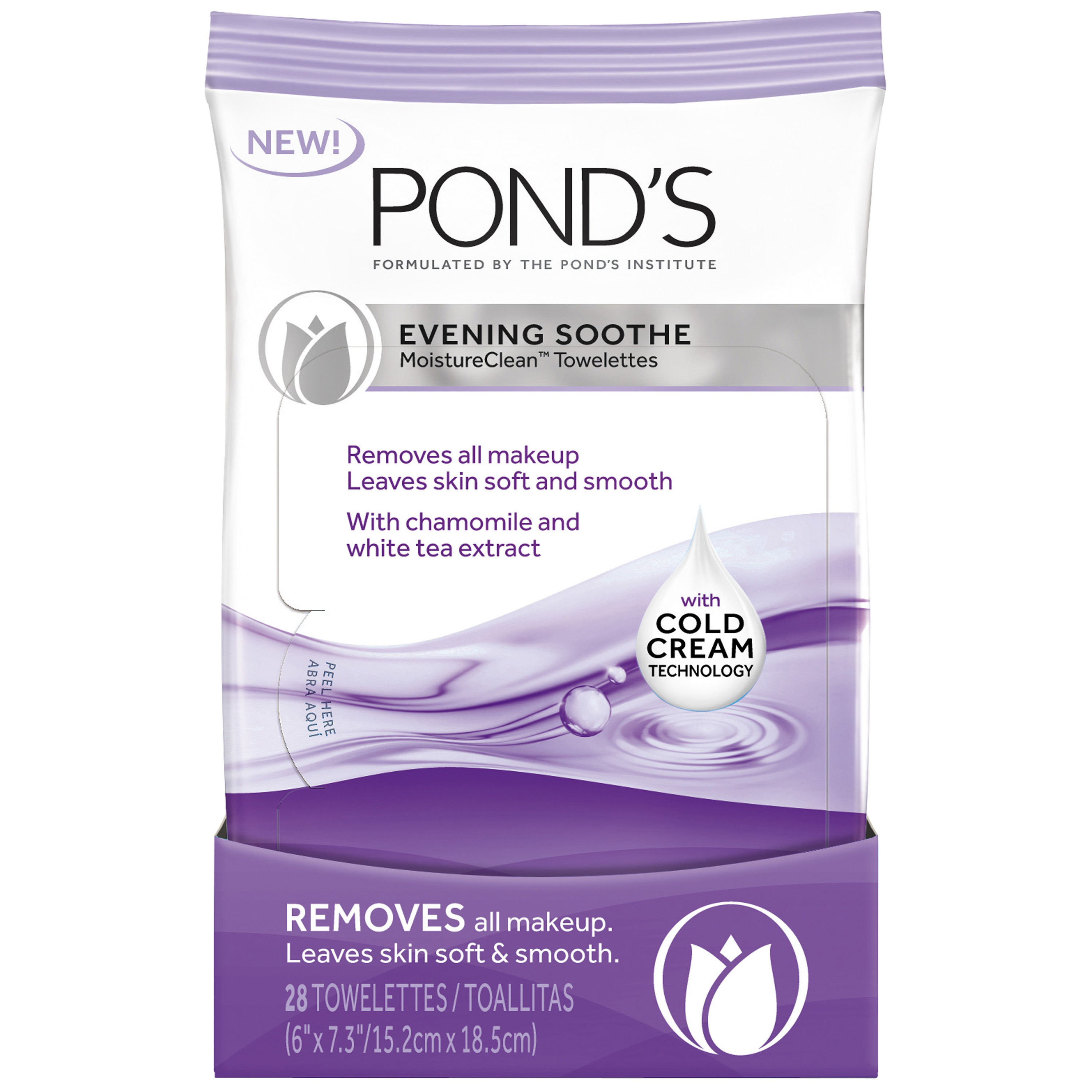 Pond's MoistureClean Makeup Remover Wipes Evening Soothe 28 ct