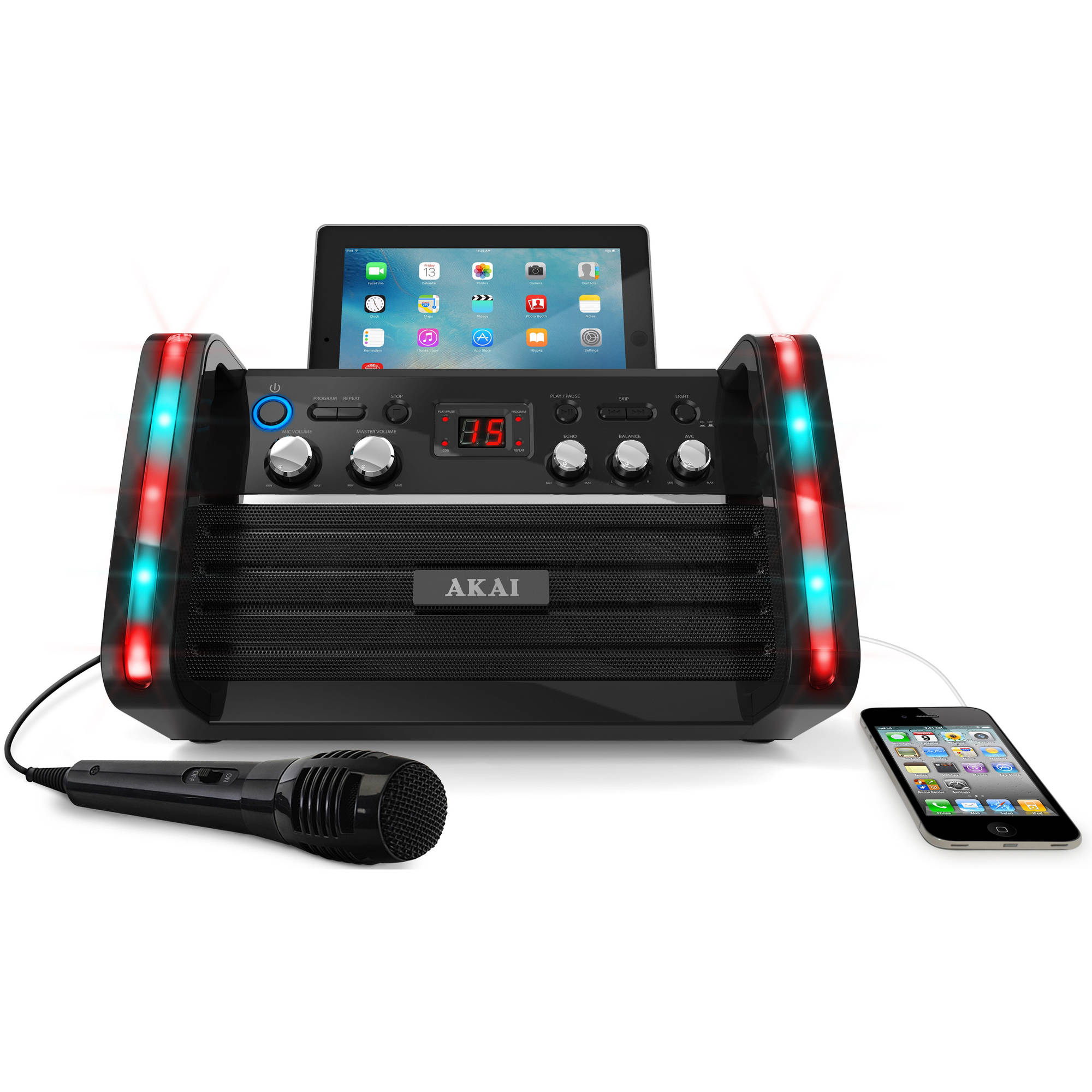 Akai KS-213 CD+G Karaoke Player with Apple iPad/iPod Cradle and Light Effect