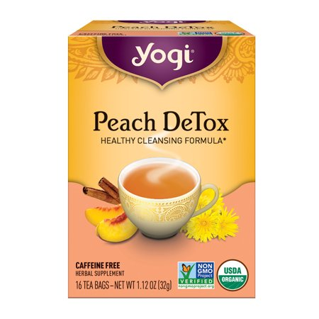 (2 Pack) Yogi Tea, Peach DeTox Tea, Tea Bags, 16 Ct, 1.12