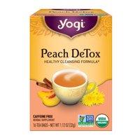 (2 Pack) Yogi Tea, Peach DeTox Tea, Tea Bags, 16 Ct, 1.12 OZ