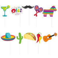 Mexican Fiesta Photo Booth Props, 10pc