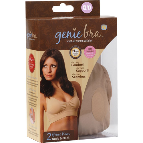 As Seen on TV Genie Bra XL, Black/Nude, 2-Pack