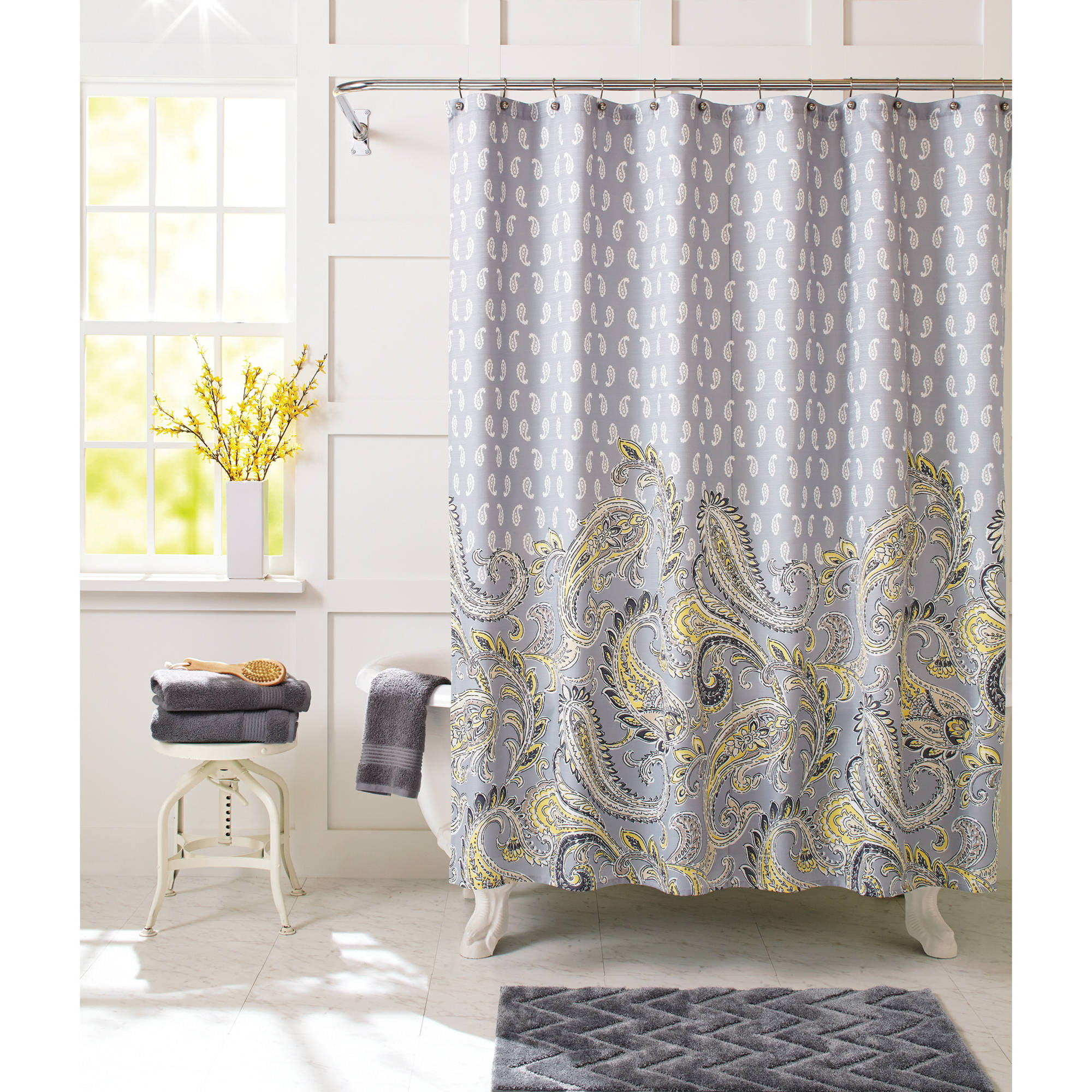Better Homes and Gardens Yellow Paisley Fabric Shower Curtain ...